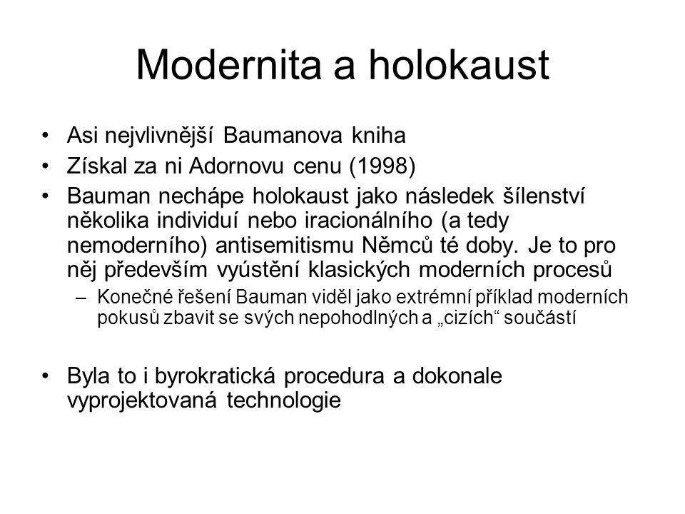 Modernita a holokaust Asi nejvlivnější Baumanova kniha