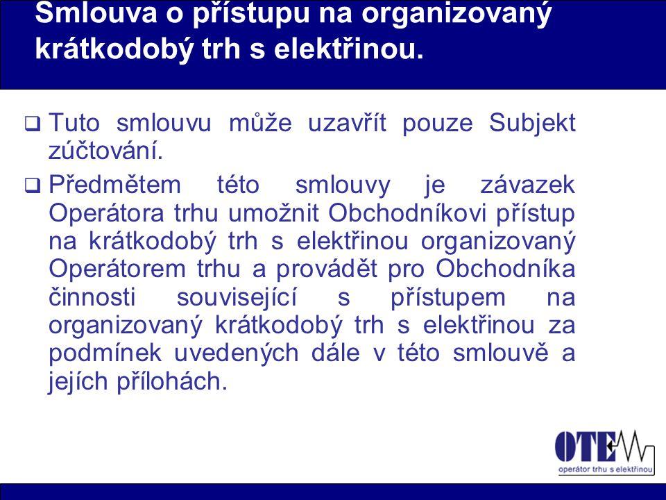 Smlouva o přístupu na organizovaný krátkodobý trh s elektřinou.