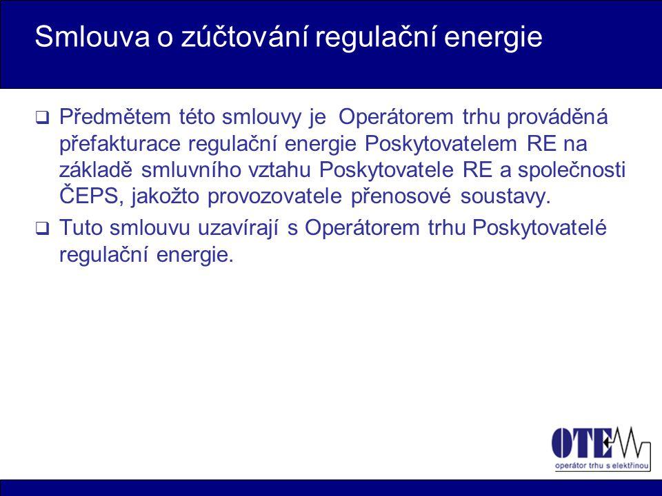 Smlouva o zúčtování regulační energie