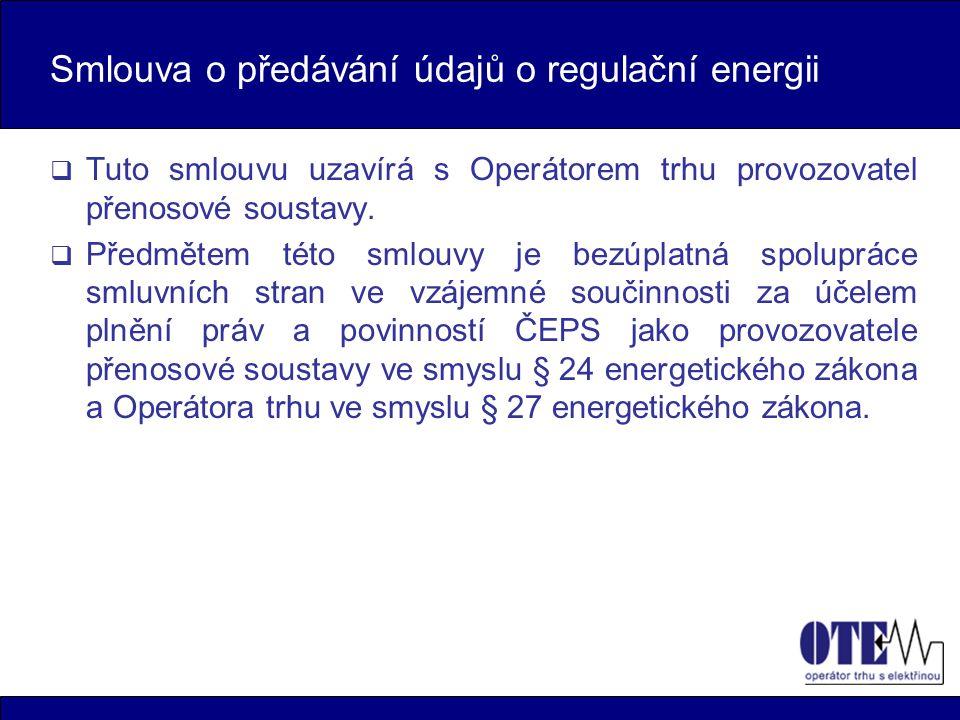 Smlouva o předávání údajů o regulační energii
