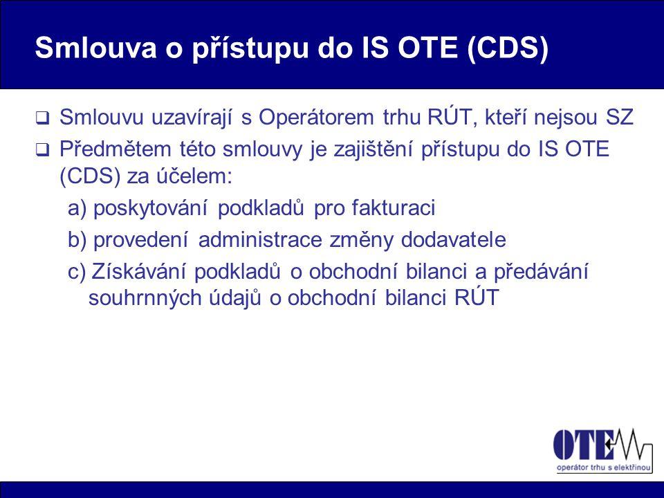 Smlouva o přístupu do IS OTE (CDS)