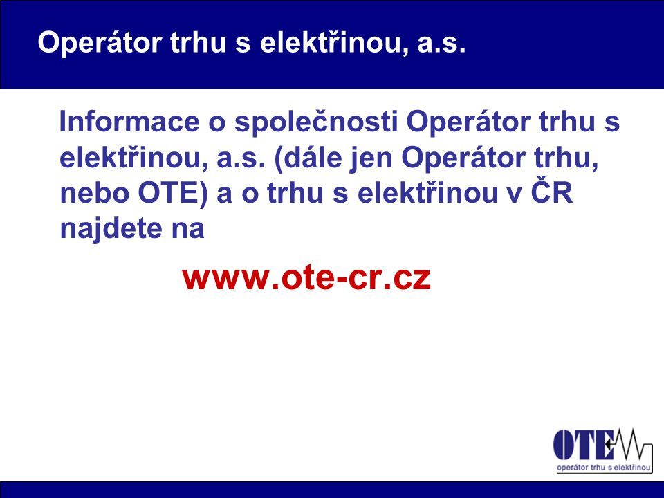 Operátor trhu s elektřinou, a.s.