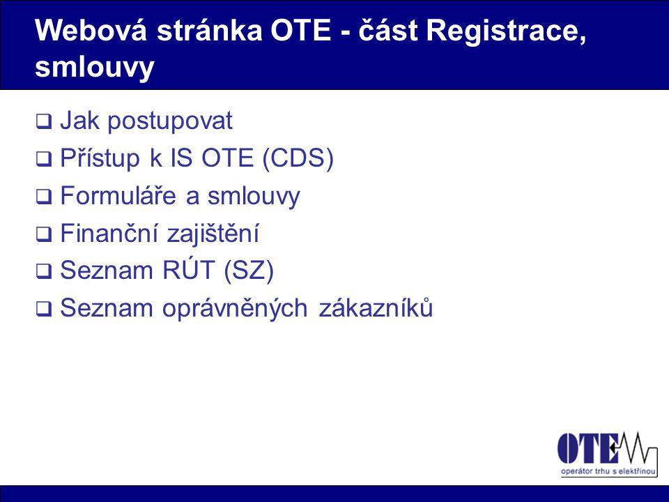 Webová stránka OTE - část Registrace, smlouvy
