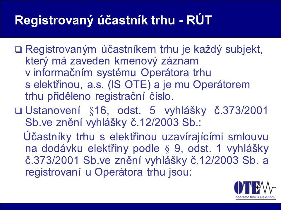 Registrovaný účastník trhu - RÚT