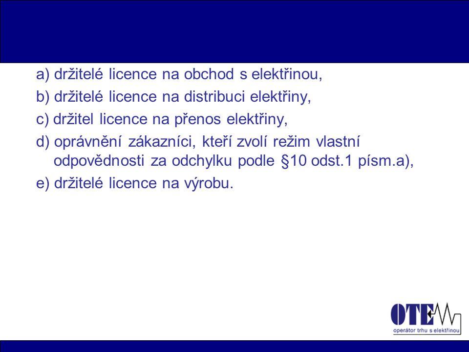 a) držitelé licence na obchod s elektřinou,