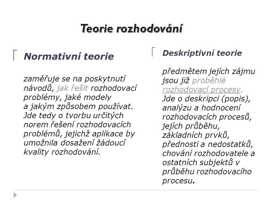 Teorie rozhodování Normativní teorie