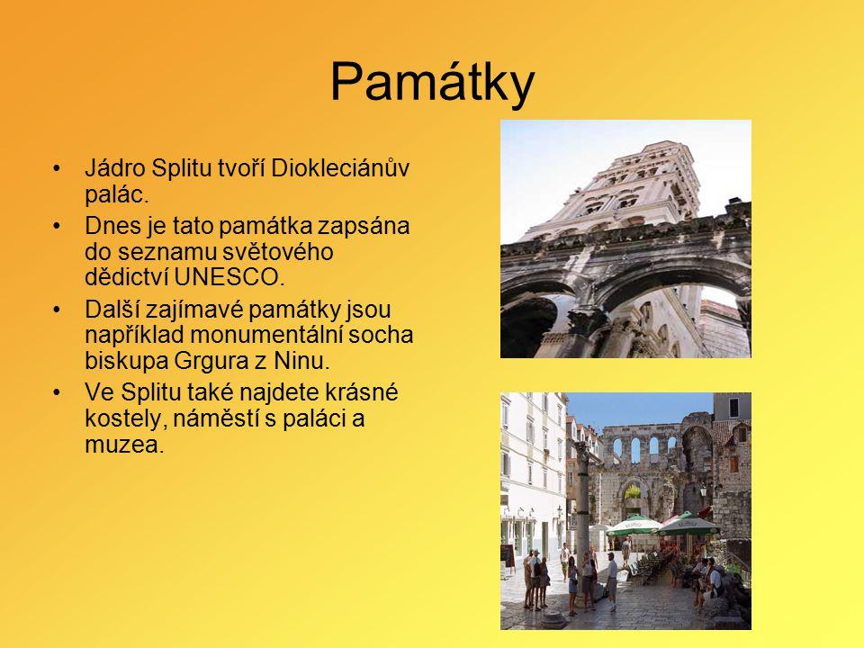 Památky Jádro Splitu tvoří Diokleciánův palác.