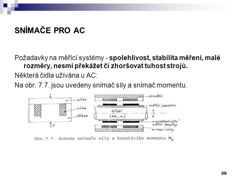 Snímače pro AC Požadavky na měřící systémy - spolehlivost, stabilita měření, malé rozměry, nesmí překážet či zhoršovat tuhost strojů.