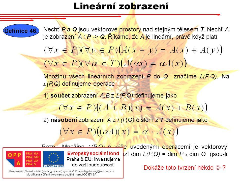 Lineární zobrazení Definice 46.
