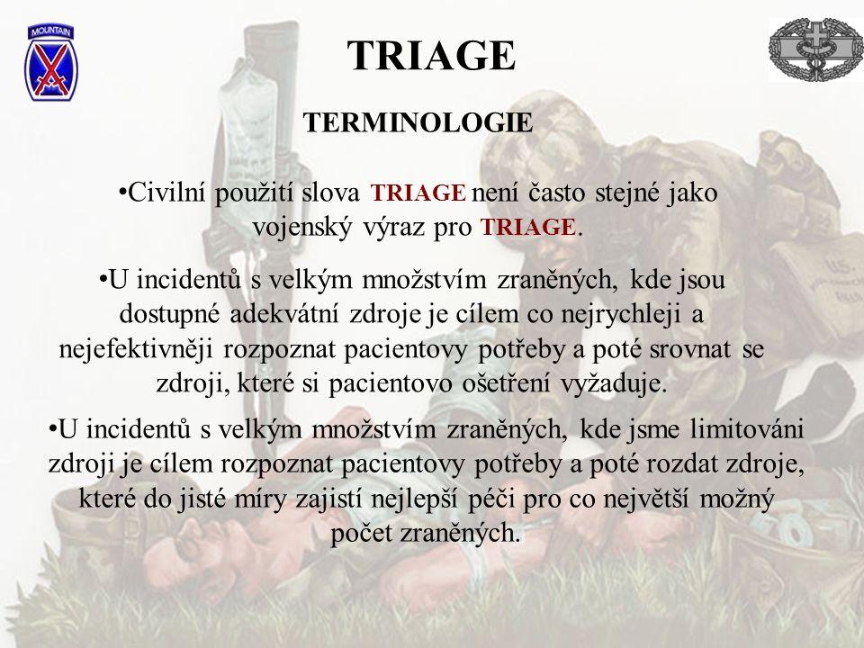 TRIAGE TERMINOLOGIE. Civilní použití slova TRIAGE není často stejné jako vojenský výraz pro TRIAGE.