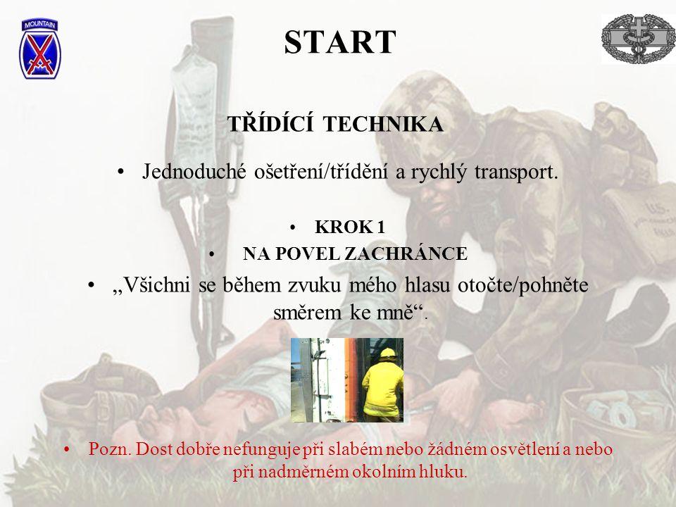 START TŘÍDÍCÍ TECHNIKA Jednoduché ošetření/třídění a rychlý transport.