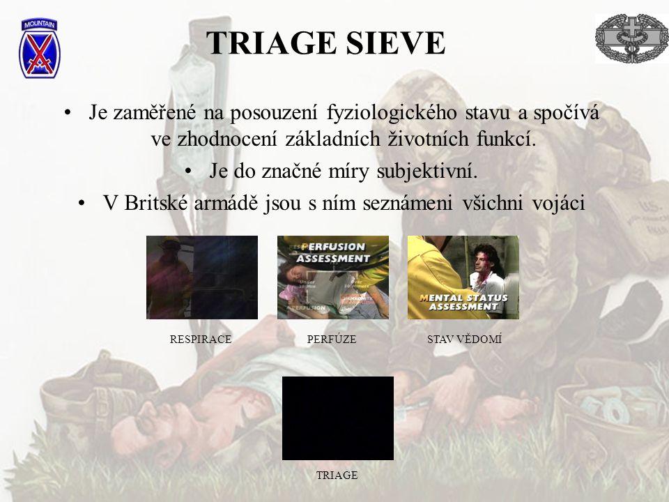 TRIAGE SIEVE Je zaměřené na posouzení fyziologického stavu a spočívá ve zhodnocení základních životních funkcí.