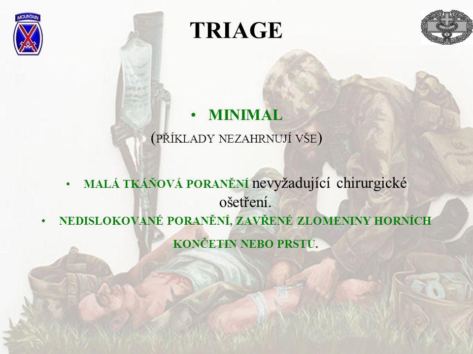 TRIAGE MINIMAL (PŘÍKLADY NEZAHRNUJÍ VŠE)