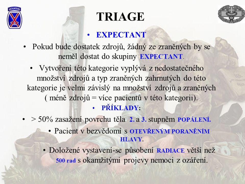 TRIAGE EXPECTANT. Pokud bude dostatek zdrojů, žádný ze zraněných by se neměl dostat do skupiny EXPECTANT.