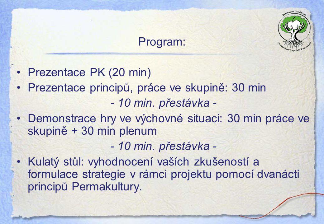 Program: Prezentace PK (20 min) Prezentace principů, práce ve skupině: 30 min. - 10 min. přestávka -
