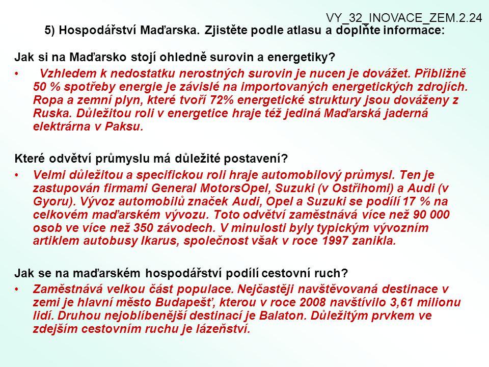 5) Hospodářství Maďarska. Zjistěte podle atlasu a doplňte informace: