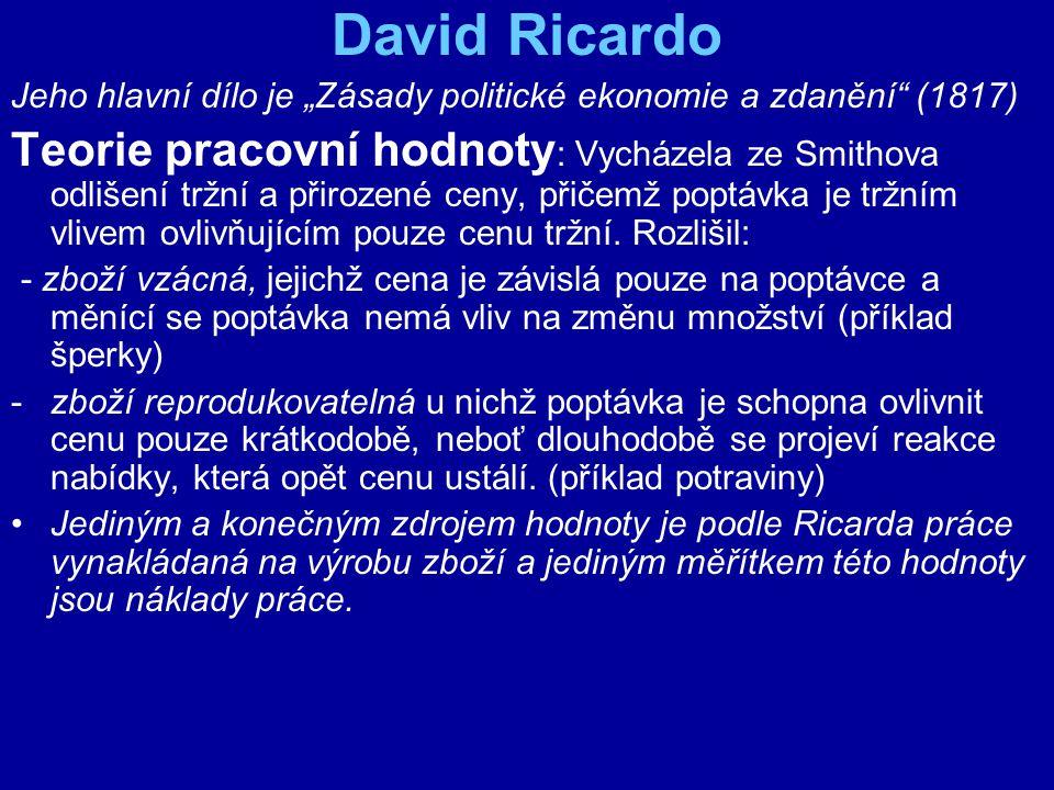"""David Ricardo Jeho hlavní dílo je """"Zásady politické ekonomie a zdanění (1817)"""