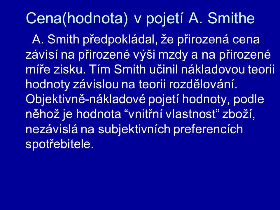 Cena(hodnota) v pojetí A. Smithe