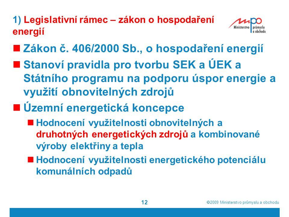 1) Legislativní rámec – zákon o hospodaření energií