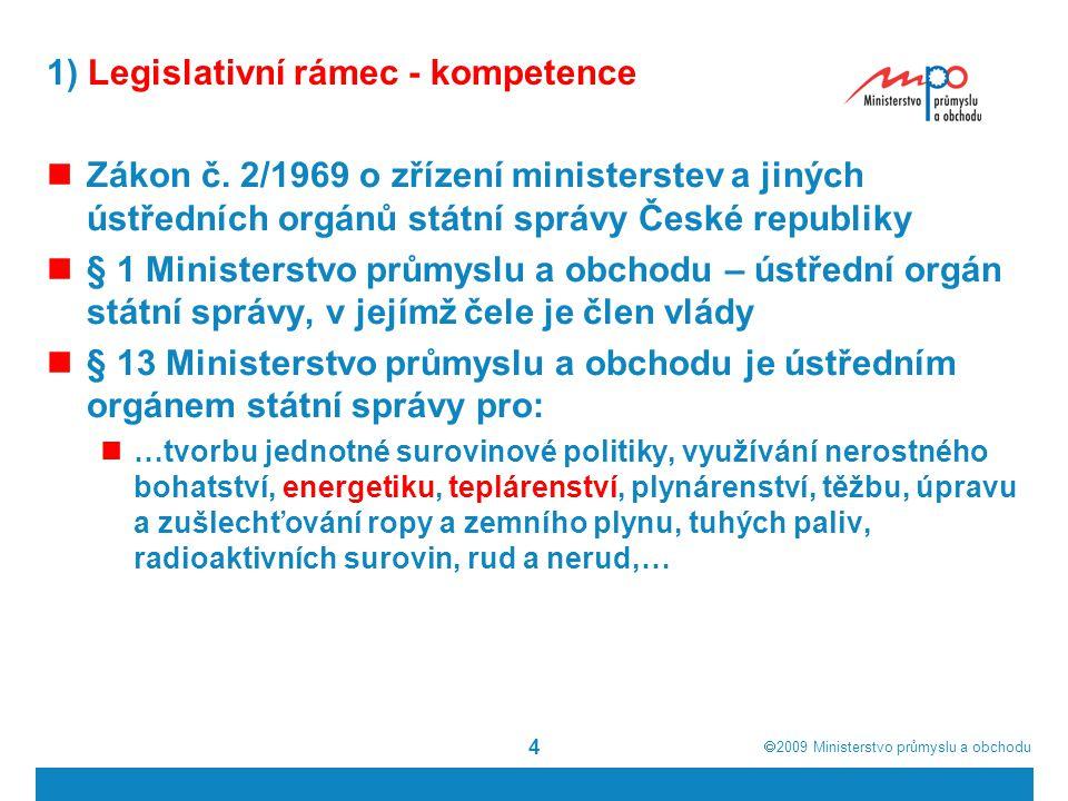1) Legislativní rámec - kompetence