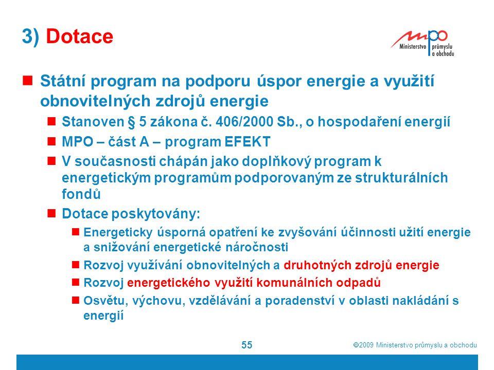 3) Dotace Státní program na podporu úspor energie a využití obnovitelných zdrojů energie. Stanoven § 5 zákona č. 406/2000 Sb., o hospodaření energií.