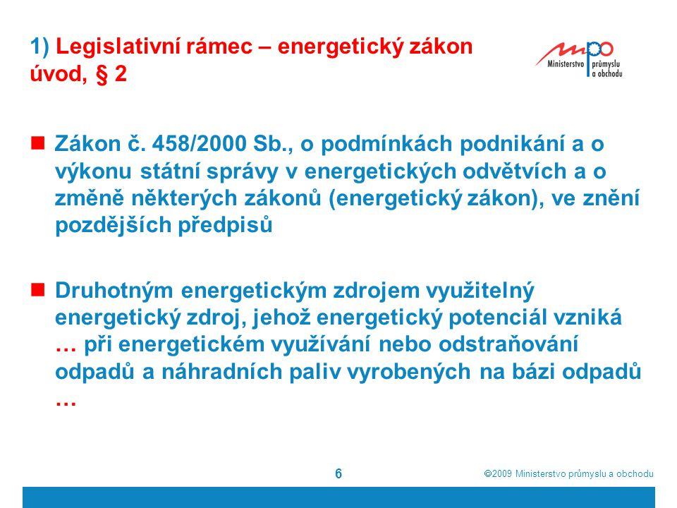 1) Legislativní rámec – energetický zákon úvod, § 2
