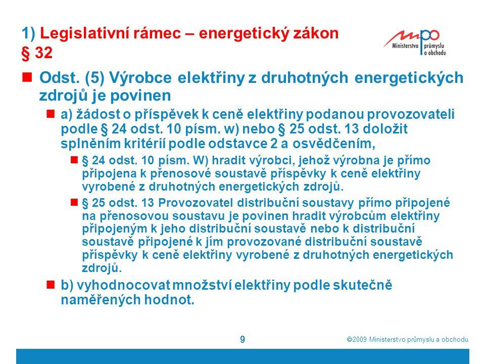 1) Legislativní rámec – energetický zákon § 32