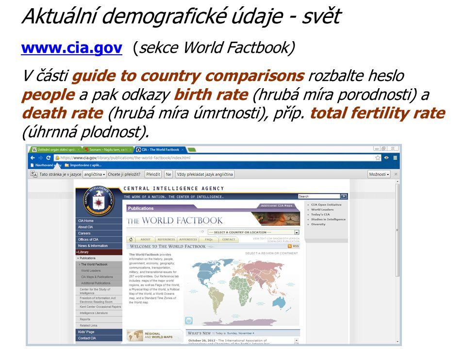 Aktuální demografické údaje - svět
