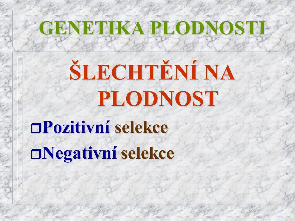 ŠLECHTĚNÍ NA PLODNOST GENETIKA PLODNOSTI Pozitivní selekce
