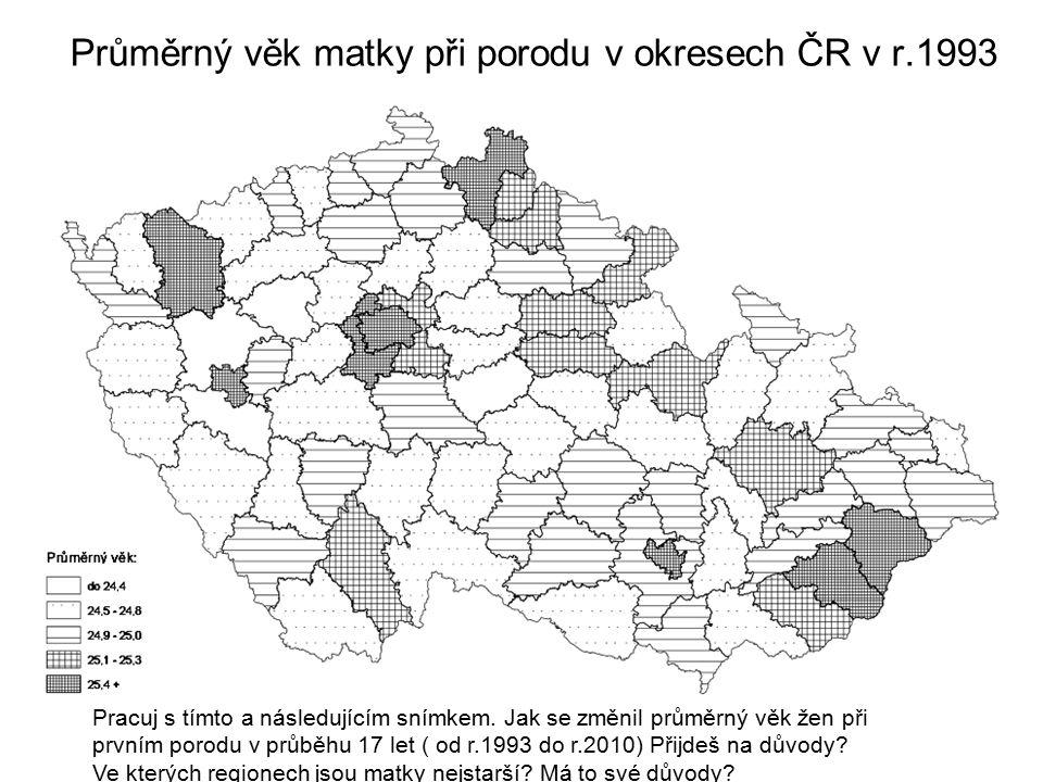 Průměrný věk matky při porodu v okresech ČR v r.1993
