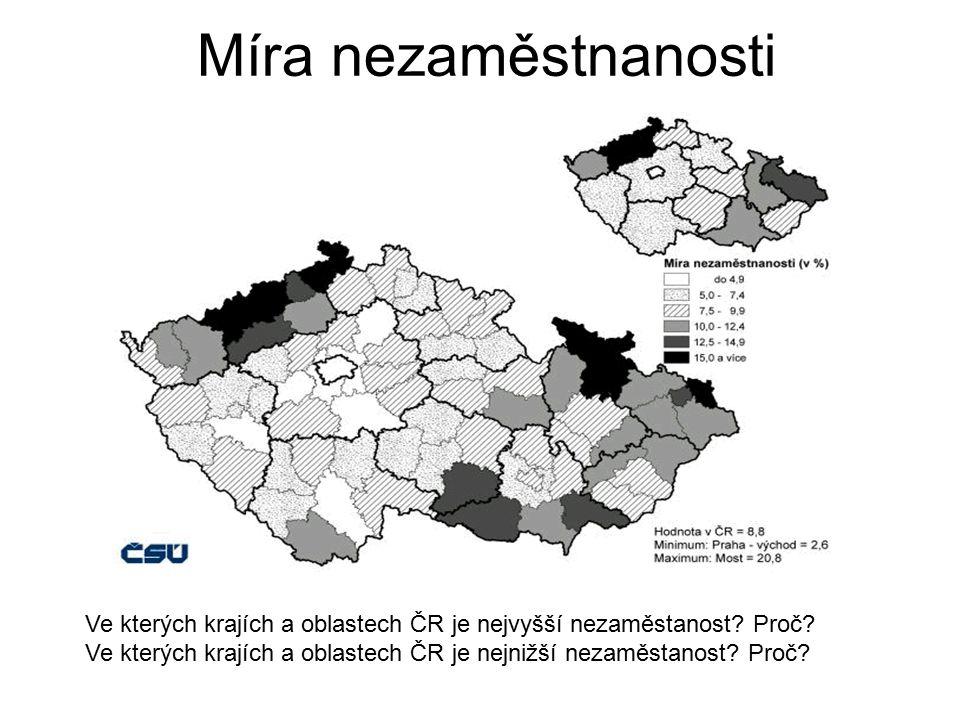 Míra nezaměstnanosti Ve kterých krajích a oblastech ČR je nejvyšší nezaměstanost Proč