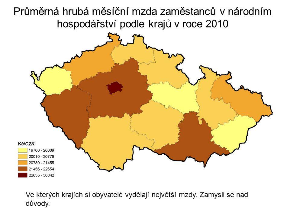 Průměrná hrubá měsíční mzda zaměstanců v národním hospodářství podle krajů v roce 2010