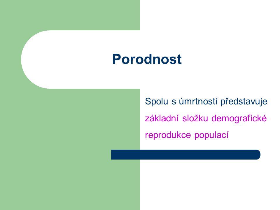 Porodnost Spolu s úmrtností představuje základní složku demografické