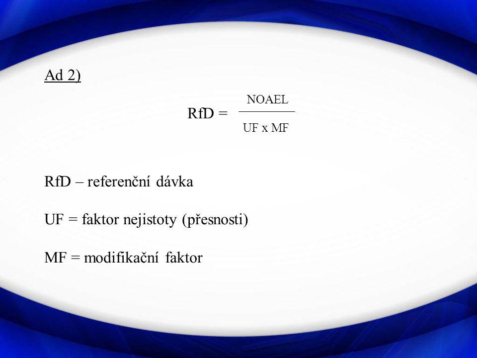 Ad 2) NOAEL. RfD = UF x MF. RfD – referenční dávka.
