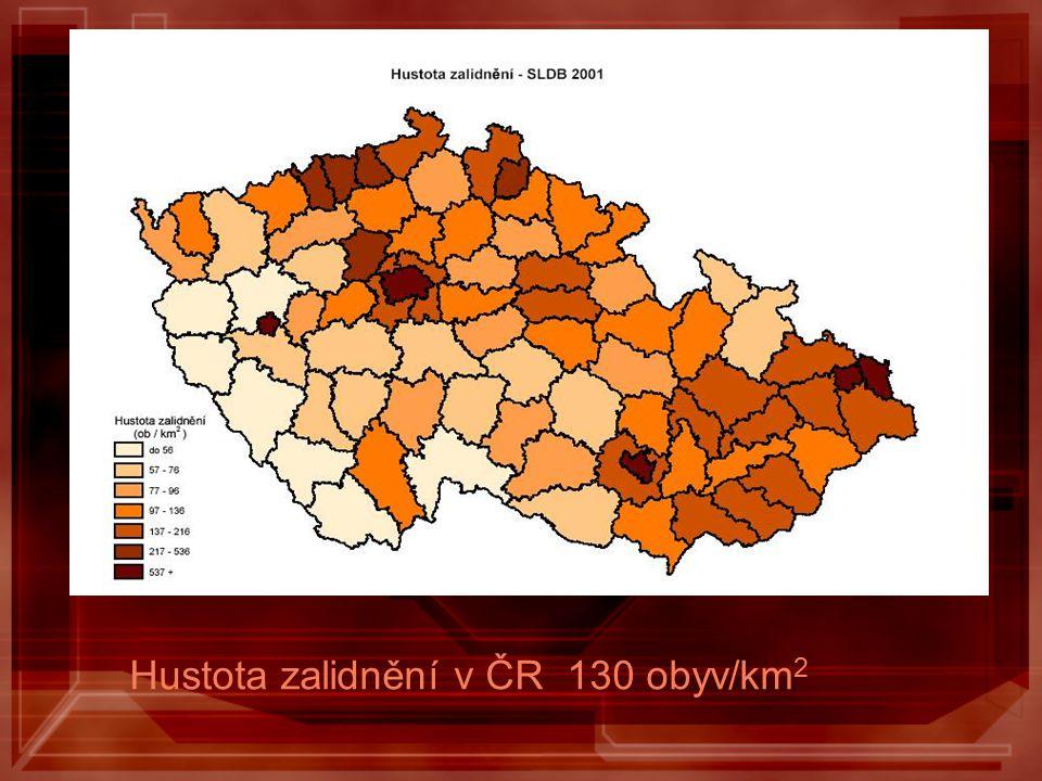 Hustota zalidnění v ČR 130 obyv/km2