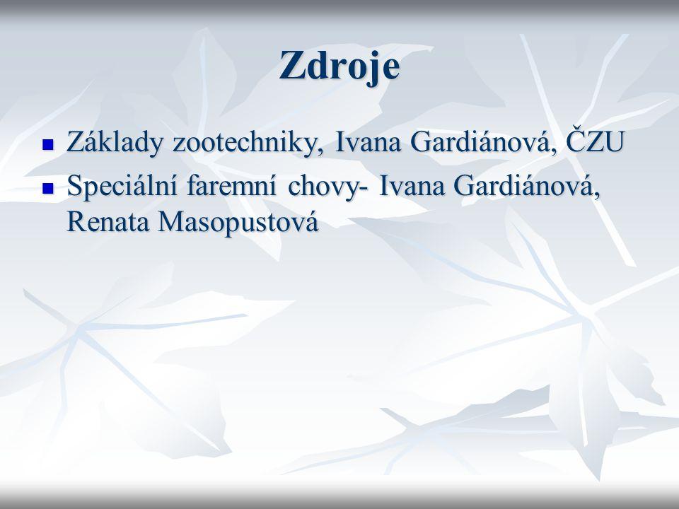 Zdroje Základy zootechniky, Ivana Gardiánová, ČZU