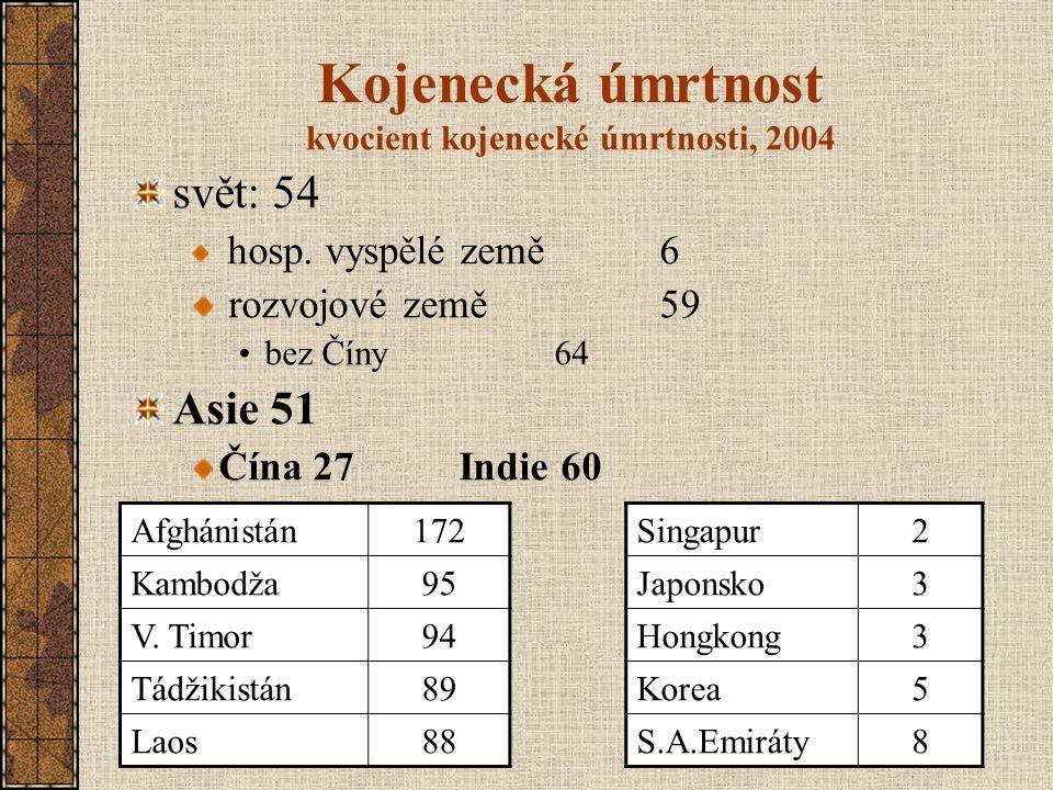 Kojenecká úmrtnost kvocient kojenecké úmrtnosti, 2004