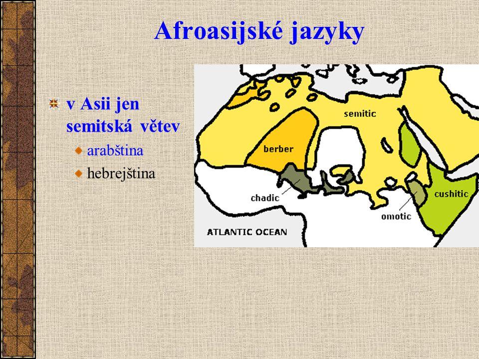 Afroasijské jazyky v Asii jen semitská větev arabština hebrejština