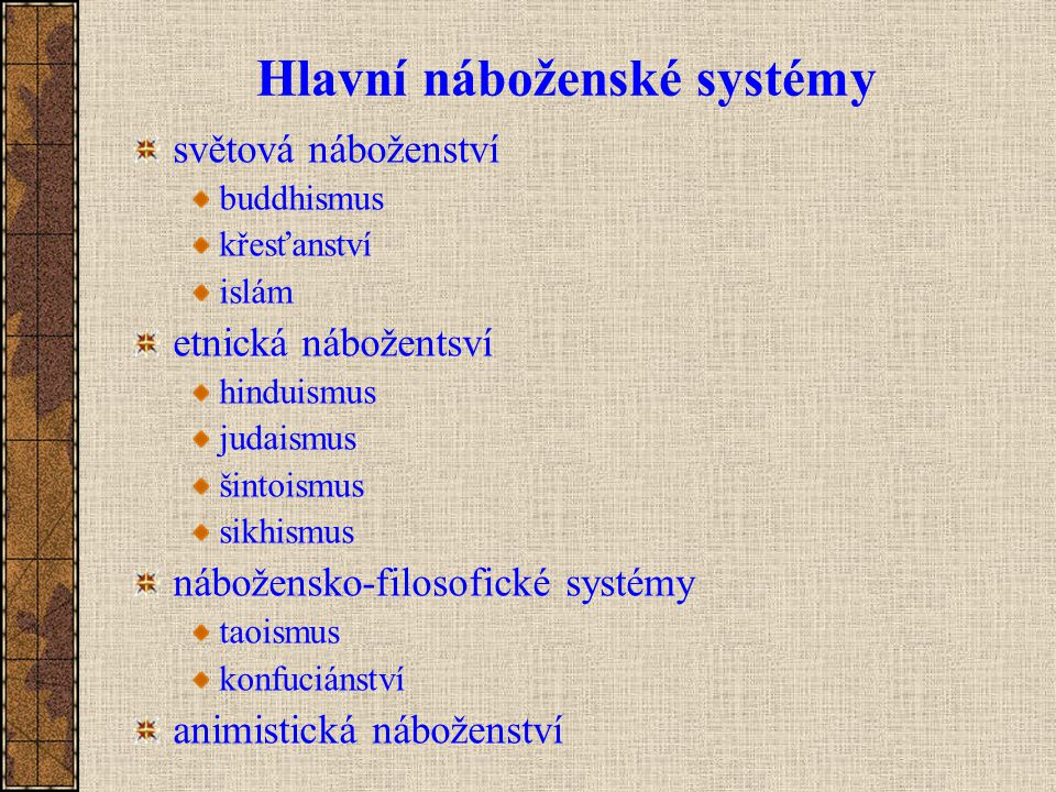 Hlavní náboženské systémy