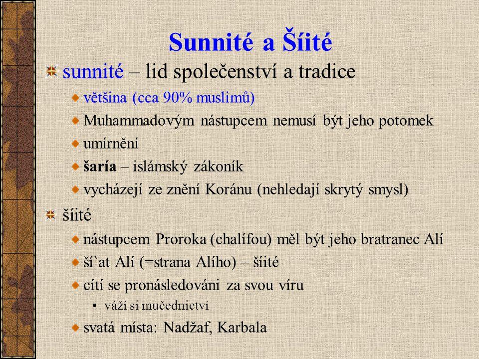 Sunnité a Šíité sunnité – lid společenství a tradice šíité
