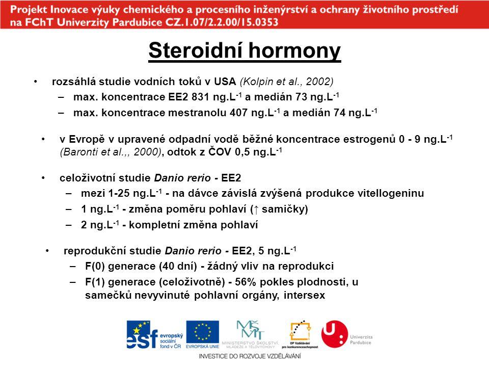 Steroidní hormony rozsáhlá studie vodních toků v USA (Kolpin et al., 2002) max. koncentrace EE2 831 ng.L-1 a medián 73 ng.L-1.