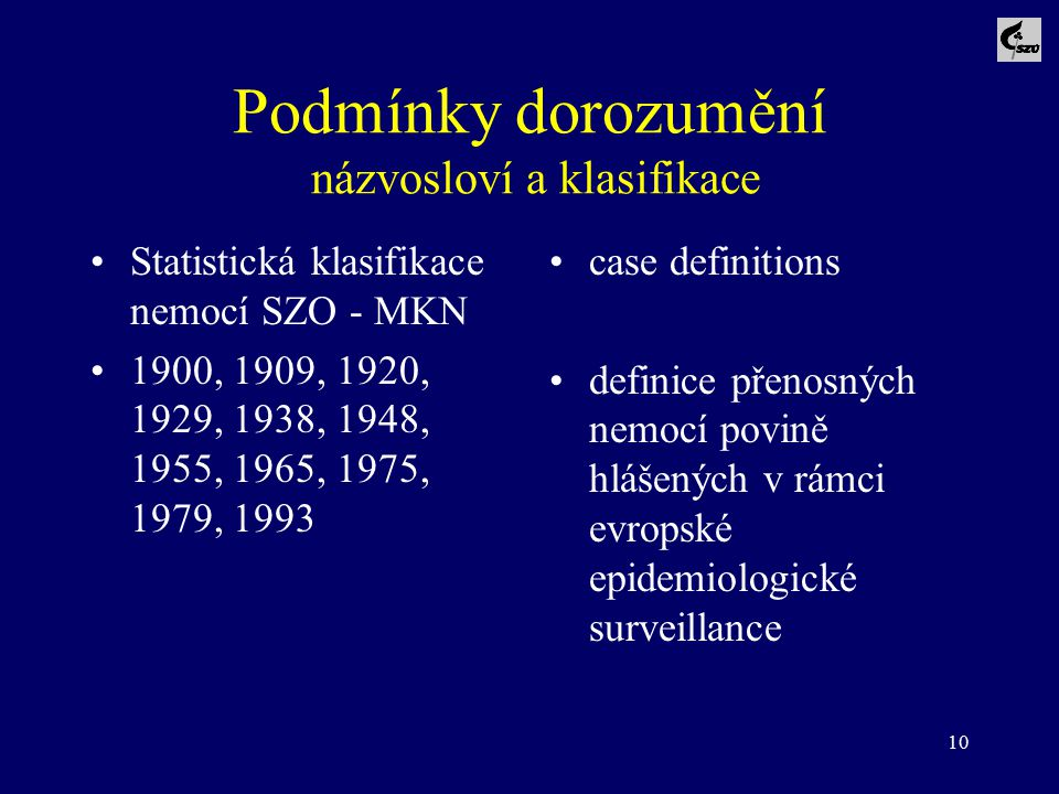 Podmínky dorozumění názvosloví a klasifikace