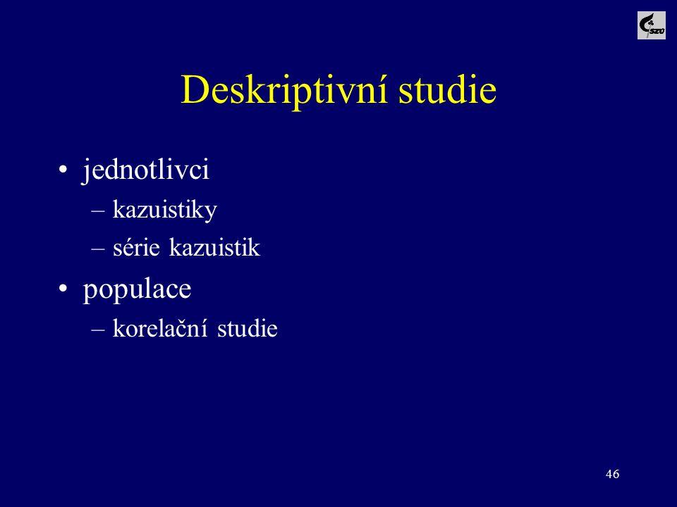 Deskriptivní studie jednotlivci populace kazuistiky série kazuistik