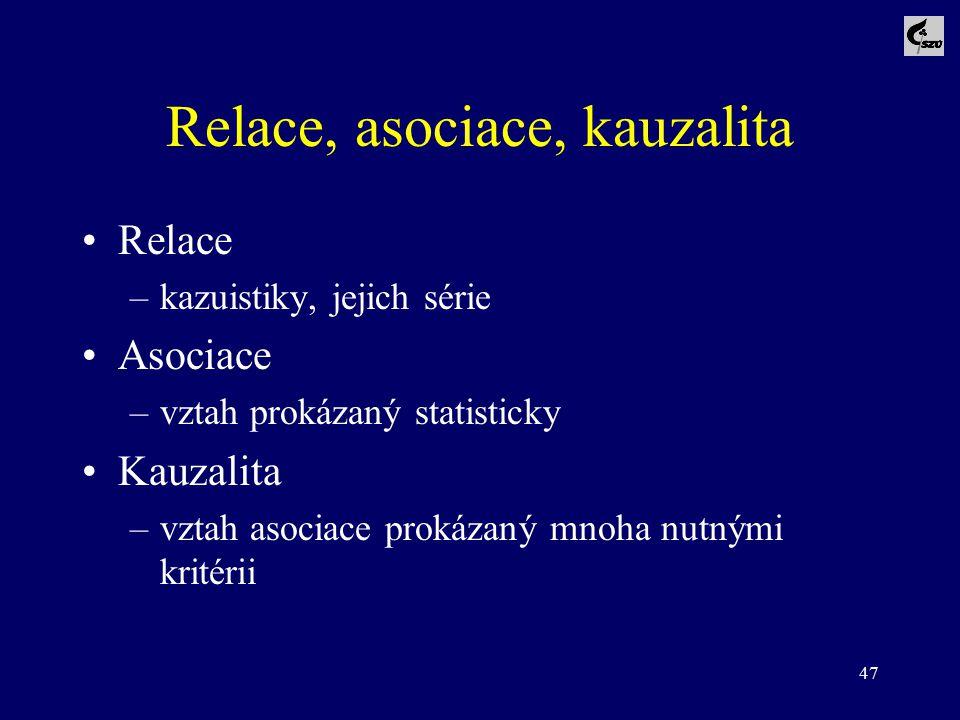 Relace, asociace, kauzalita