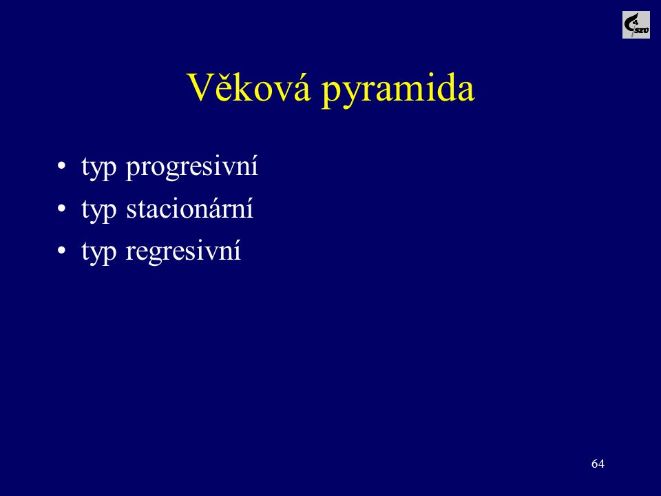 Věková pyramida typ progresivní typ stacionární typ regresivní