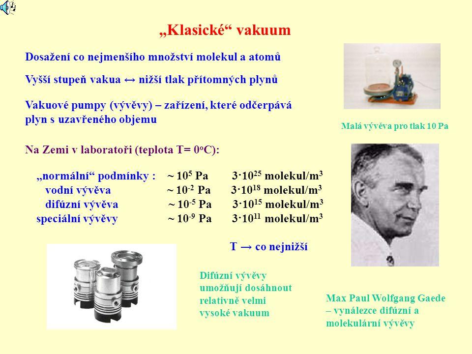 """""""Klasické vakuum Dosažení co nejmenšího množství molekul a atomů"""
