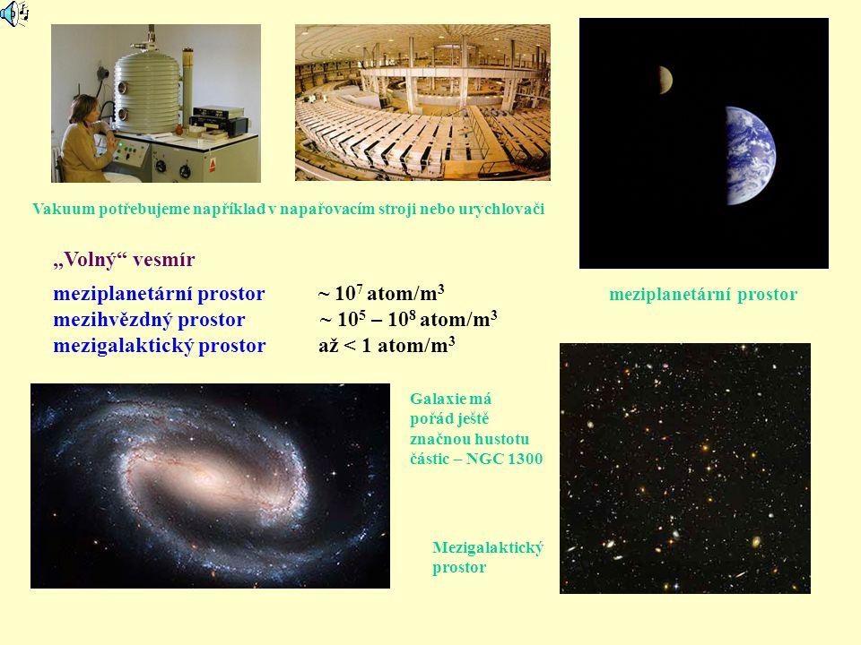 meziplanetární prostor ~ 107 atom/m3