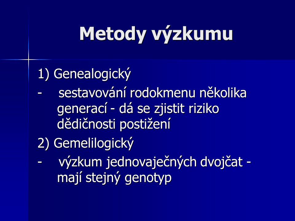 Metody výzkumu 1) Genealogický