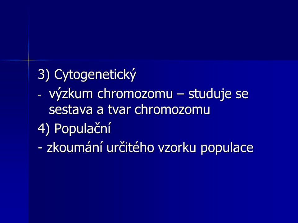 3) Cytogenetický výzkum chromozomu – studuje se sestava a tvar chromozomu.