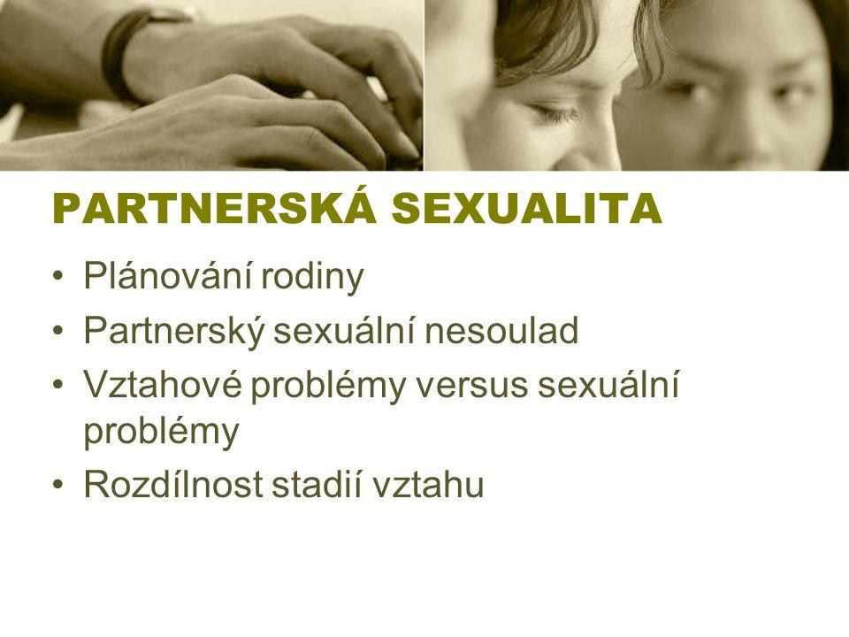 PARTNERSKÁ SEXUALITA Plánování rodiny Partnerský sexuální nesoulad
